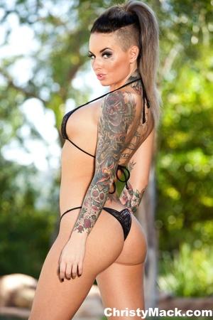 Sexy tattooed babe in a black bikini dem - XXX Dessert - Picture 9