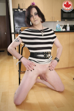 Dirty T-girl in a striped dress takes it - XXX Dessert - Picture 10