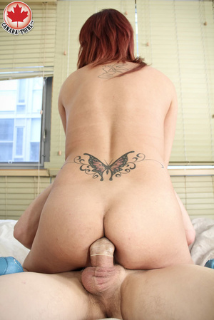 Red slutty tranny sucking man's meat bef - XXX Dessert - Picture 14