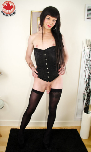 Long-haired brunette shemale in sexy bla - XXX Dessert - Picture 11