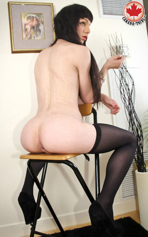 Long-haired brunette shemale in sexy bla - XXX Dessert - Picture 14