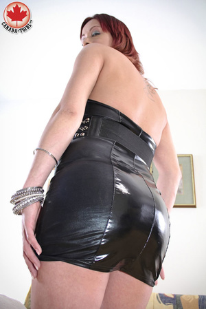 Slutty ginger ladyboy in a black latex d - XXX Dessert - Picture 5