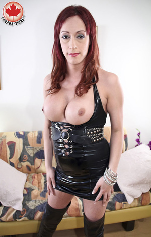 Slutty ginger ladyboy in a black latex d - XXX Dessert - Picture 6