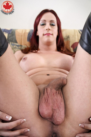 Slutty ginger ladyboy in a black latex d - XXX Dessert - Picture 10
