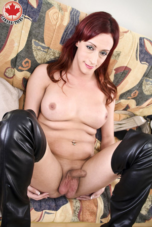 Slutty ginger ladyboy in a black latex d - XXX Dessert - Picture 11