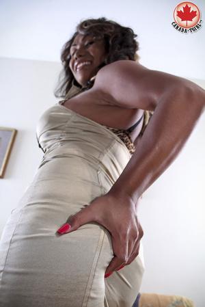 Ebony busty ladyboy in a sexy dress and  - XXX Dessert - Picture 3