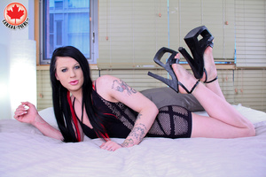 Tattooed long-haired brunette T-girl in  - XXX Dessert - Picture 6