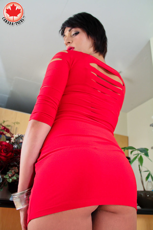Bodacious brunette T-girl in a red sexy  - XXX Dessert - Picture 4