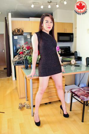 Nasty Asian tranny I a sexy black dress  - XXX Dessert - Picture 1