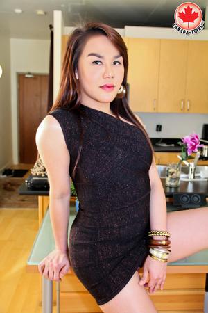 Nasty Asian tranny I a sexy black dress  - XXX Dessert - Picture 2