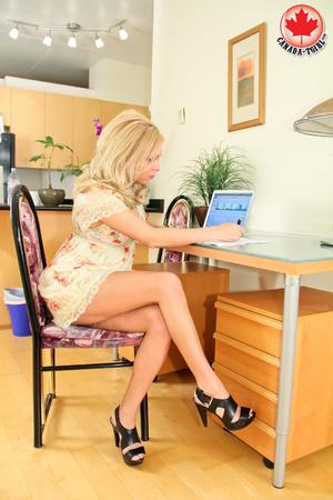 Pretty blonde transsexual bitch in a dre - XXX Dessert - Picture 1
