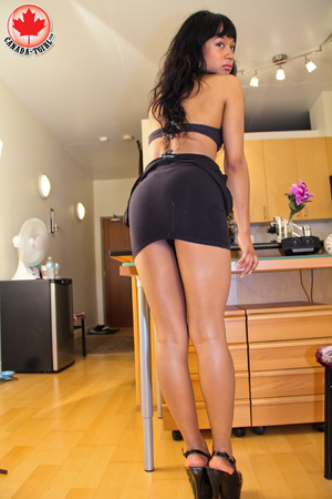 Swarthy Asian T-girl in a black dress an - XXX Dessert - Picture 6
