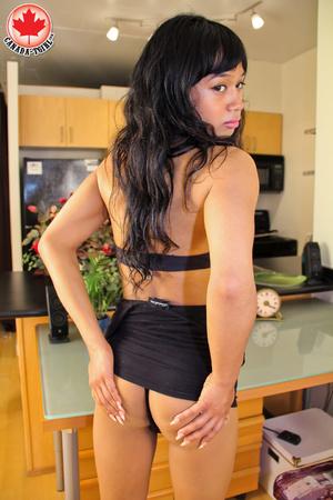 Swarthy Asian T-girl in a black dress an - XXX Dessert - Picture 7