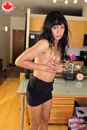 Swarthy Asian T-girl in a black dress an - XXX Dessert - Picture 8