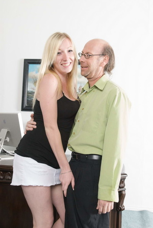 Bald old fart in glasses seduces dirty b - XXX Dessert - Picture 1