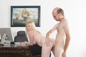 Bald old fart in glasses seduces dirty b - XXX Dessert - Picture 18