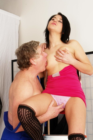 Old fart fucking hard very hot brunette  - XXX Dessert - Picture 11