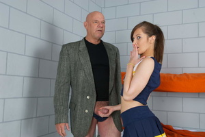 Naughty ponytailed gal in a blue dress g - XXX Dessert - Picture 4