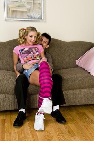 Pigtailed blonde teen in striped stockin - XXX Dessert - Picture 1