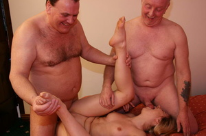 Two old farts shaving blonde pigtailed g - XXX Dessert - Picture 2