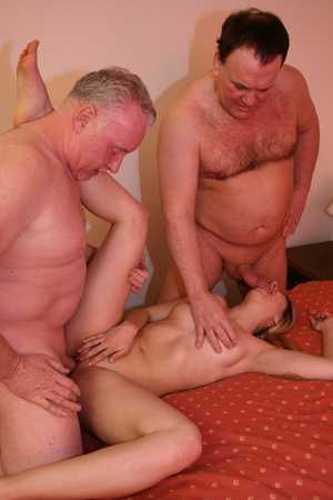 Two old farts shaving blonde pigtailed g - XXX Dessert - Picture 4