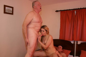 Two old farts shaving blonde pigtailed g - XXX Dessert - Picture 8
