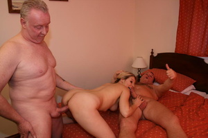 Two old farts shaving blonde pigtailed g - XXX Dessert - Picture 17