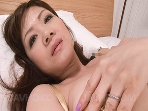 Lewd Asian mom in a lingerie fondling he - XXX Dessert - Picture 2