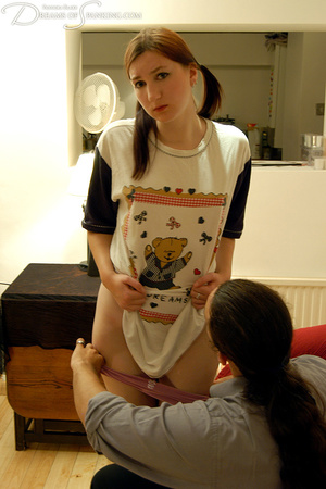 Nasty pigtailed girl in a white T-shirt  - XXX Dessert - Picture 8
