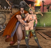 Magnificent babes from Mortal Kombat gets banged badly after the fighting