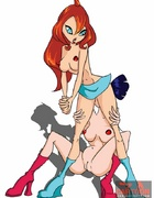 Hot chicks from Winx Club are bi as they fuck with guys and each other