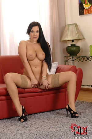 Busty babe in stockings undresses to pla - XXX Dessert - Picture 15