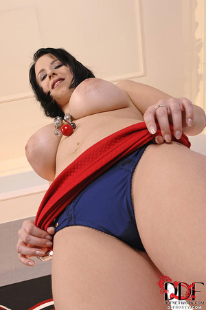 Nasty brunette vixen in a red skirt and  - XXX Dessert - Picture 7
