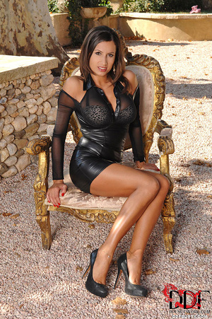 Gorgeous babe in a black dress and high  - XXX Dessert - Picture 2