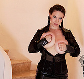 Busty brunette bitch with two plaits takes her big juggs out to play with