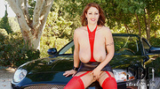 busty mom red stockings