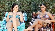 two busty lesbians having