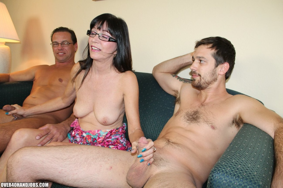 Double mature handjob