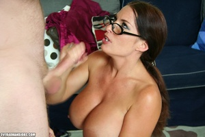 Hot ponytailed milf in glasses and sexy  - Picture 9