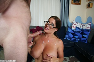 Hot ponytailed milf in glasses and sexy  - Picture 12