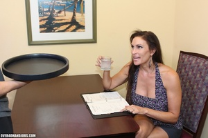 Hot brunette milf in a sexy dress giving - XXX Dessert - Picture 3