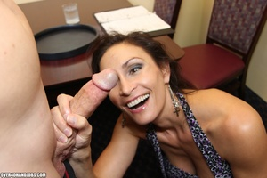 Hot brunette milf in a sexy dress giving - XXX Dessert - Picture 6