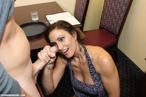 Hot brunette milf in a sexy dress giving - XXX Dessert - Picture 7