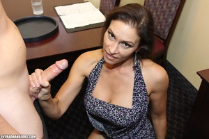 Hot brunette milf in a sexy dress giving - XXX Dessert - Picture 11