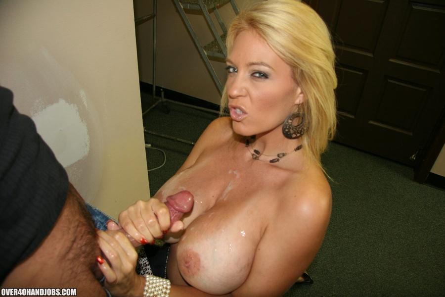 Blonde mom handjob