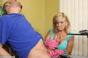 Nasty blonde housewife in a blue blouse  - XXX Dessert - Picture 4