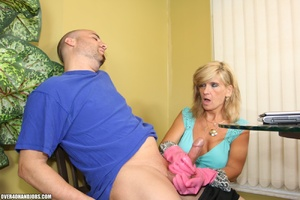 Nasty blonde housewife in a blue blouse  - XXX Dessert - Picture 5