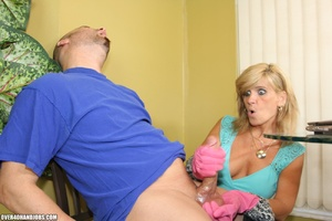 Nasty blonde housewife in a blue blouse  - XXX Dessert - Picture 8