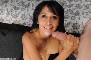 Dirty brunette milf gets mouthful f hot  - XXX Dessert - Picture 12