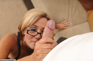 Blonde milf in a black dress and glasses - XXX Dessert - Picture 3